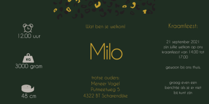 Drieluikkaartje met luipaardprint donker groen okergeel Milo