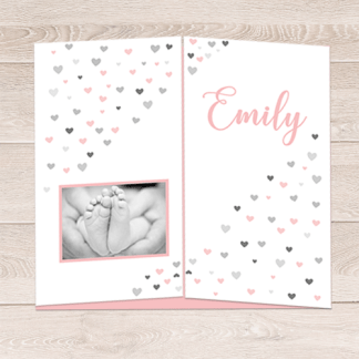 drieluik geboortekaartje met hartjes print in roze grijs