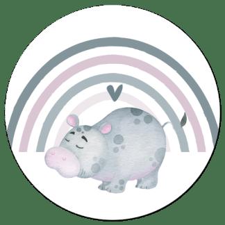 Wandcirkel/Wandsticker Nijlpaardje op regenboog