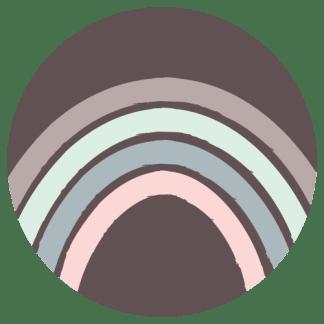 Wandcirkel/Wandsticker Regenboog roze mint