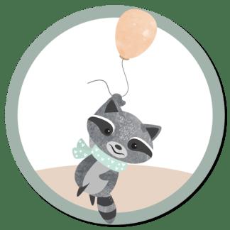 Wandcirkel/Wandsticker Wasbeer met ballon