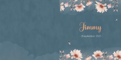 Dubbel geboortekaartje met bloemen n donker blauw