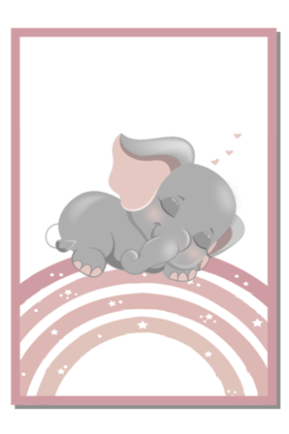 Poster slapend olifantje op regenboog