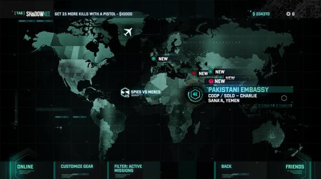 The mission select screen