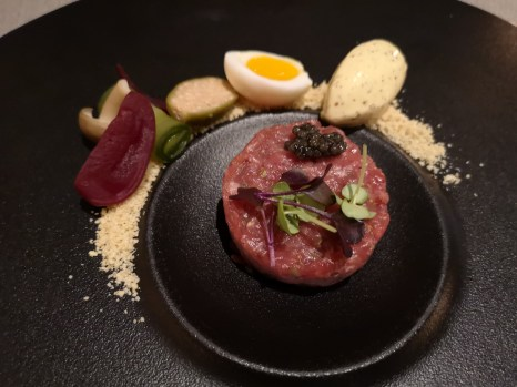 Caviar and Bull - Steak Tartare, with mustard ice cream