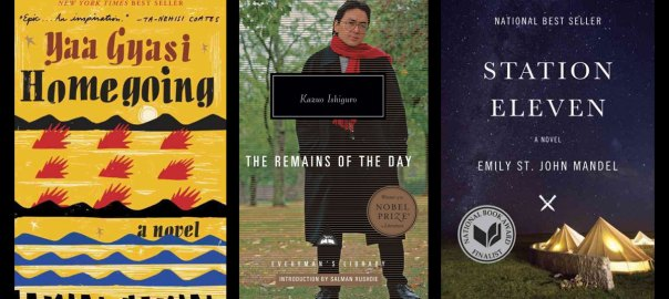 Homegoing, The Remains of the Day, Station Eleven book covers