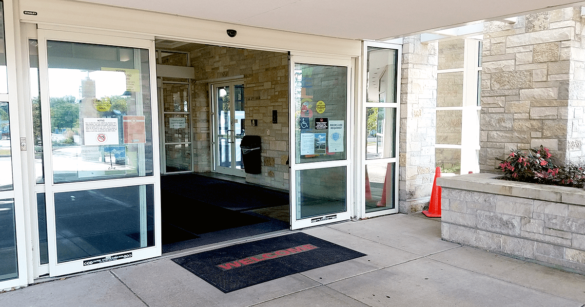 front doors of the library open