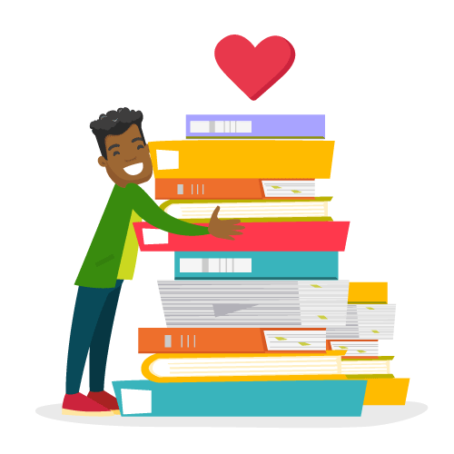 teen hugging a pile of books
