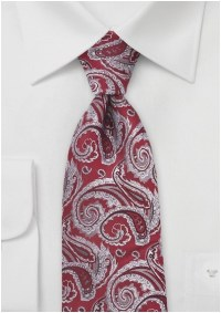 Majestic Paisley Tie in Red and Silver