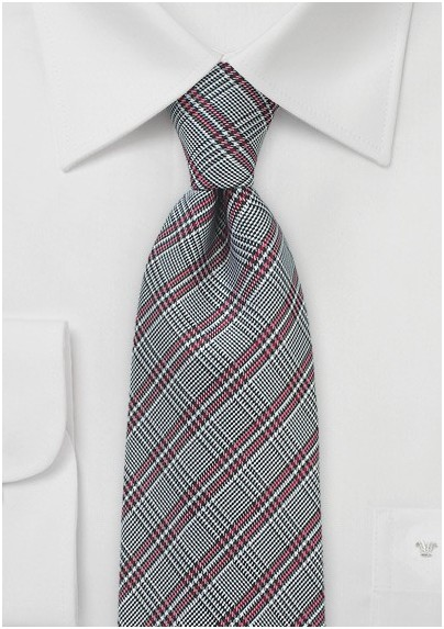 Men's Red and Gray Check Tie