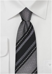 Black and Silver Textured Striped Tie in Pure Silk