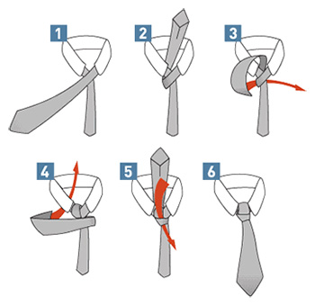 Full windsor tie knot diagram