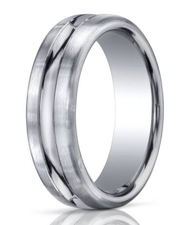 Palladium Wedding Ring Carved Out Polished Center