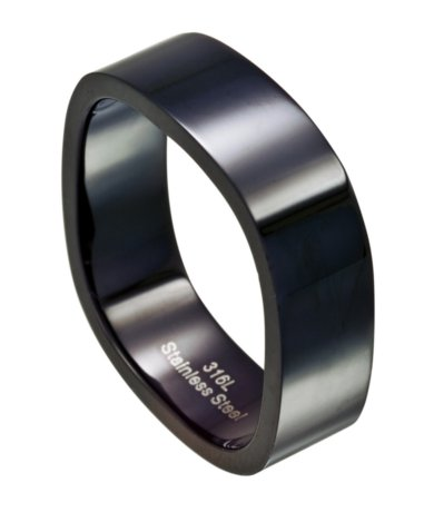 Black Stainless Steel Wedding Band For Men With 4 Sided Design