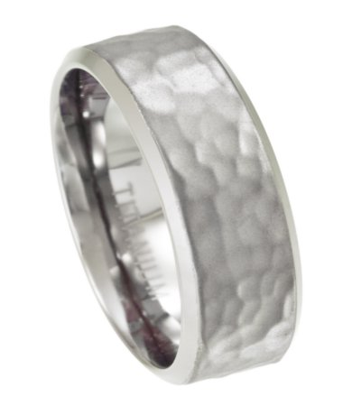 Titanium Wedding Band Mens Hammered Finish