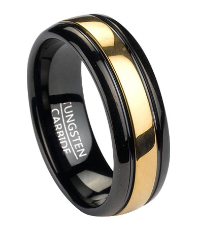 Mens Black Tungsten Wedding Band with Gold Tone Inlay