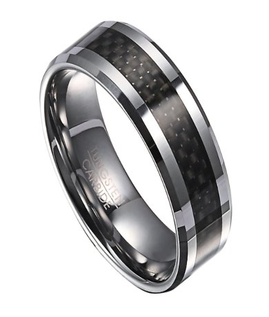 Tungsten Wedding Ring For Men With Black Carbon Fiber