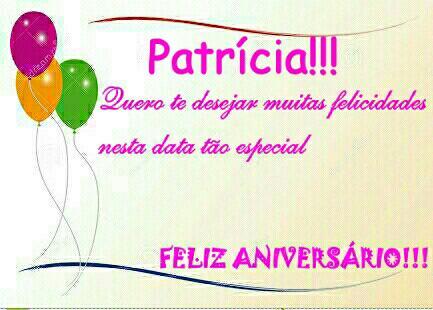 mensagem de aniversário com nome patricia