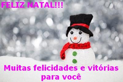 mensagens Feliz Natal com boneco de neve
