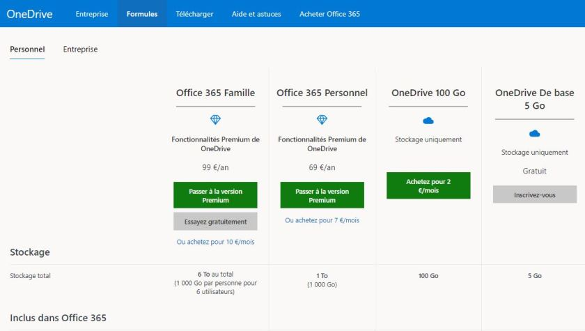 stockage en nuage forfaits onedrive