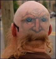 funny haircut and tattoo combination