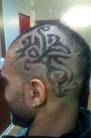 men bald head with cool patterns
