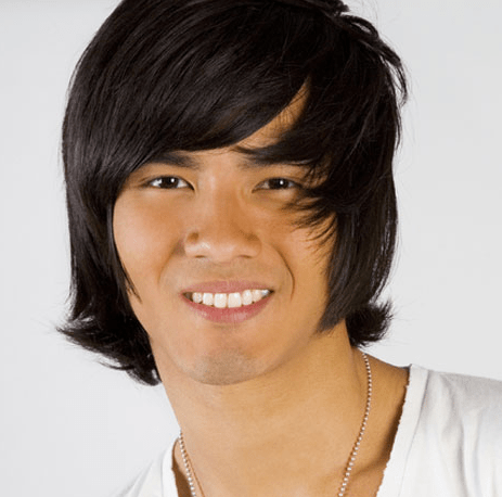 Trendy Asian men hairstyle picture with long swept bangs with layers in dark