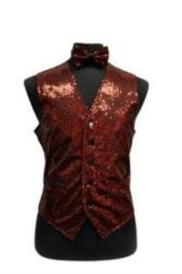 Sequin Vest/bow tie Combo red pastel color