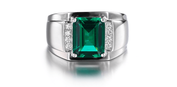 Mens ring - Emerald