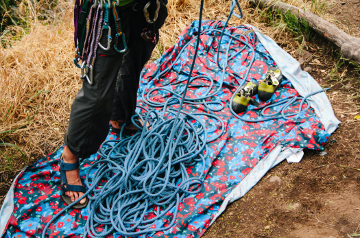 Protect your rope and your feet from dirt while climbing with a hammock. Photo: Johnie Gall