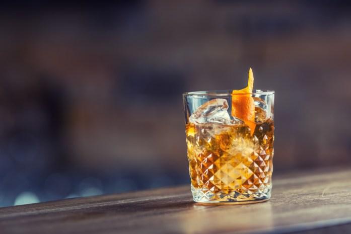 whiskey with orange peel
