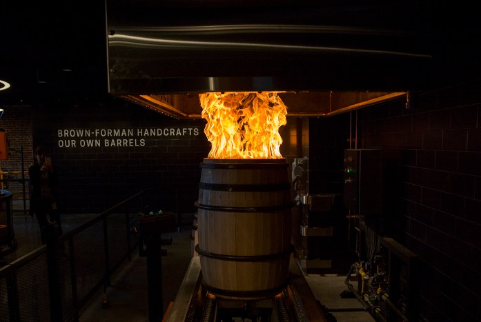 Barrel blowing at Old Forester.