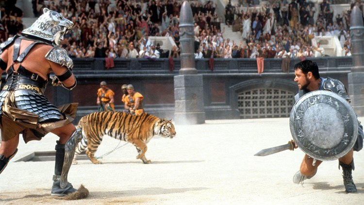 Russell Crowe in a scene from the film 'Gladiator', 2000. (Photo by Universal/Getty Images)