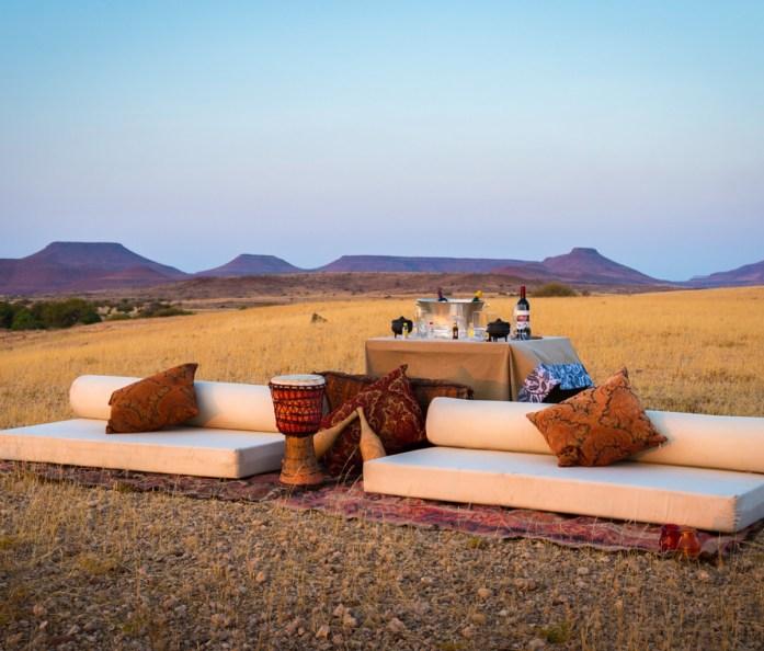 Sundowners at Desert Rhino Camp in Damaraland, Namibia