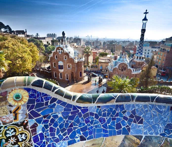 Park Güell with an Antoni Gaudí bench in the foreground