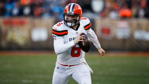 Cleveland Browns quarterback Baker Mayfield (6) scrambles during the second half of an NFL football game against the Carolina Panthers, in Cleveland Ron Schwane/AP/Shutterstock