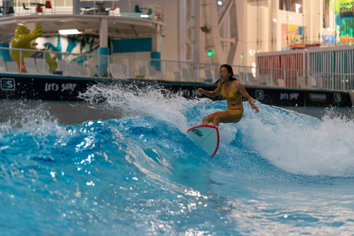 Surfing inside a mall is definitely a unique experience.