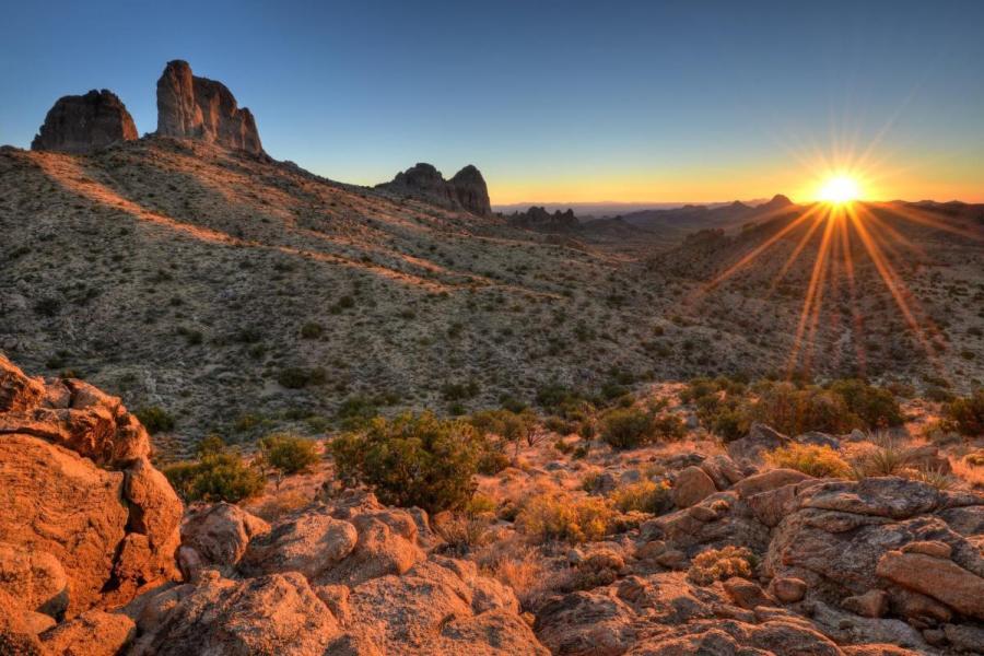 Castle Peaks Sunrise Mojave National Preserv