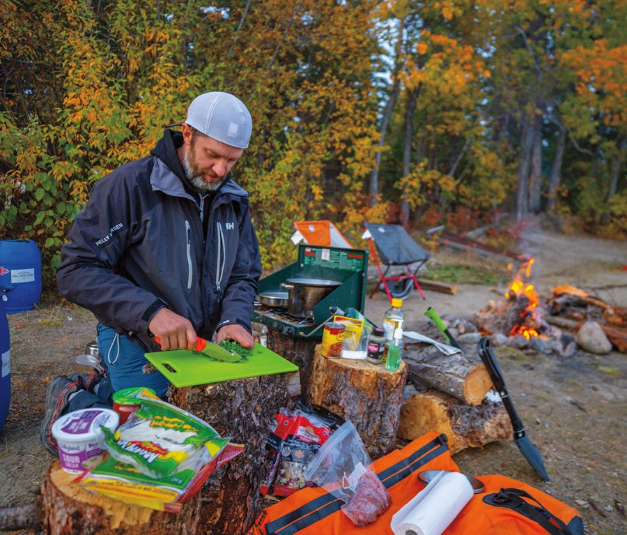 Making tacos on the banks of the Yukon River.