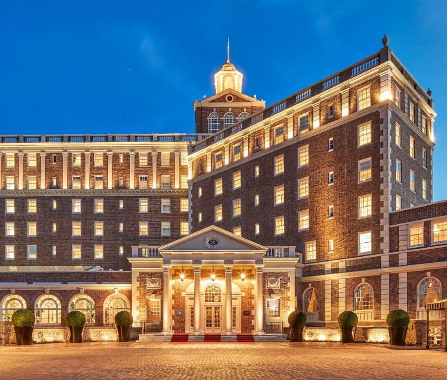 The entrance to Virginia Beach, Virginia's Cavalier Hotel at night.