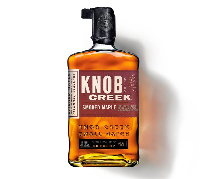 A bottle of Knob Creek Smoked Maple Bourbon.