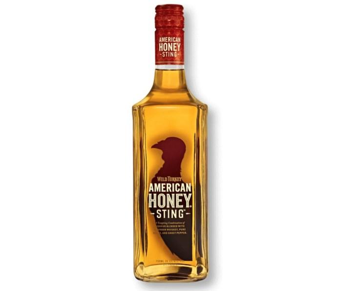 A bottle of Wild Turkey American Honey Sting whiskey.