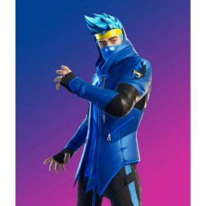 Epic Fortnite Ninja Blue/Black Leather Jacket