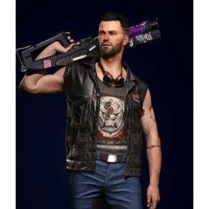 V Nomad Cyberpunk 2077 Black Leather Vest