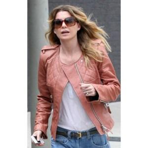 Ellen Pompeo Tan Quilted Leather Jacket