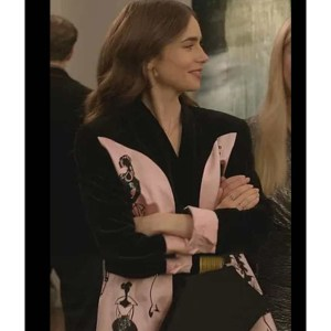 Lily Collins Pink And Black Blazer Jacket