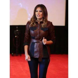 Melania Trump Leather Brown Jacket