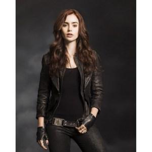 Mortal Instrument Lily Collins Black Leather Jacket