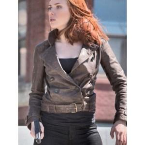 Scarlett Johansson Chic Brown Leather Jacket