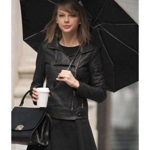 Taylor Swift Black Zipper Leather Jacket
